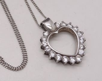 Vintage Silver Sparkly CZ Heart shaped pendant and Chain perfect gift
