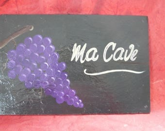 deco slate 'my cellar' bunch of grapes 2