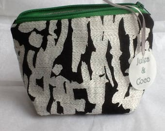 Handmade makeup bag / coin purse in harlequin designer people fabric