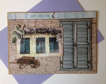 Handmade card, 3D, on the theme of Provence, lavandetoutes occasions