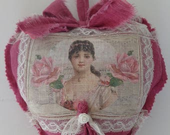 Heart hanging shabby chic and romantic in magenta pink linen
