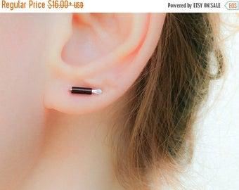 SALE - Ear Bars-Brown Earrings-Small Bar Studs-Line Stud Earrings-Tiny Silver Bar Earrings-Tiny Line Earrings-Czech Glass Earrings-Tiny Bar