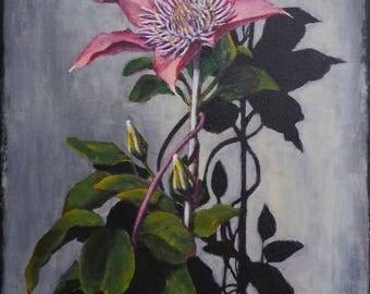 small floral painting - clematis in Fort Collins - original acrylic painting of flowers by artist Anita Dewitt