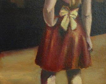 small oil painting, original art - anywhere but here - figurative study by Anita Dewitt