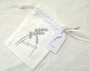 "Small fabric bag ""Lavender"" Purple and white"