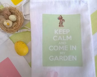 "Easter fabric bag, label ""Keep Calm and come in my garden"" 4 color 10 x 15 cm"