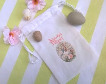 Small bag fabric Easter Bunny and eggs personalized retro image