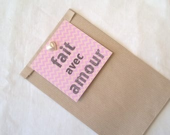 """Gift bag, pastel Chevron tag """"made with love"""""""