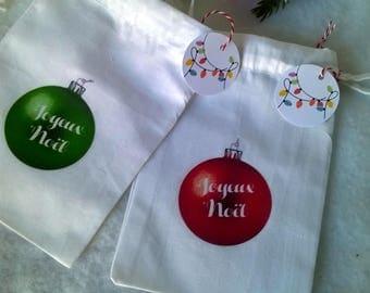 Mini bag fabric to choose red or green Christmas ball