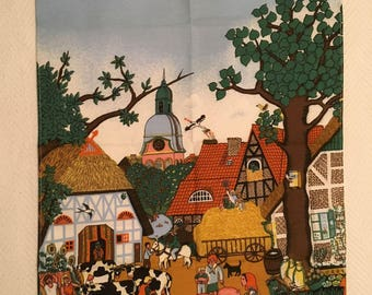 Vintage German Folk Art Cotton Tea Towel