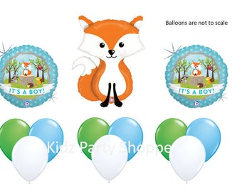 Woodland Animals Balloon SET It's A BOY Baby Shower Gender Reveal Party Decorations Centerpiece Prop Fox Owl Squirrel Raccoon Hedgehog