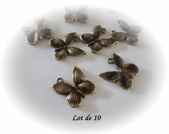 Set of 10 butterflies bronzes, bronze Butterfly charms