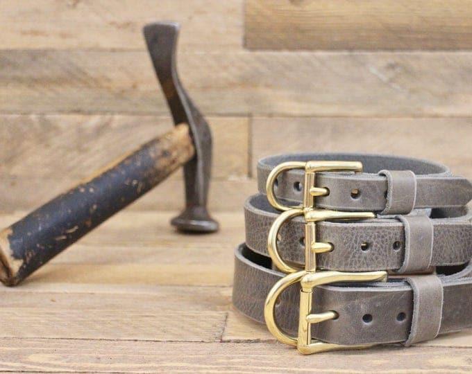 Dog collar, FREE ID TAG, Collar, Wolf grey collar, Custom leather collar, Handmade leather collar, Gold Hardware, Leather collars, Puppy.