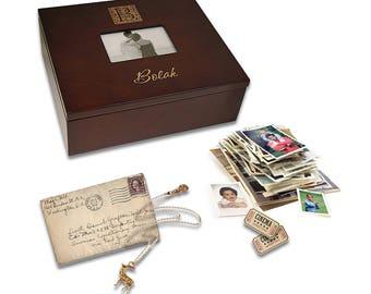 Monogram Wooden Keepsake Box with Photo Frame - Personalized Memory Box with Picture Frame Lid - Laser Engraved Keepsake Storage Box