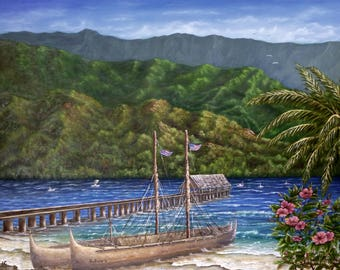 Hokulea at Hanalei Bay, Kauai, Hawaii. Signed, Original Seascape in Oil on Gallery-Wrapped 18 x 24 Stretched Canvas.