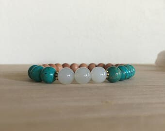 Tibetan Turquoise & Moonstone Bracelet, Rosewood, feminine energy, communication, gemstone bracelet, healing crystals, holiday gift for her