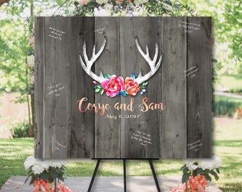 Rustic Wedding Guest book Alternative canvas or poster,Antlers and flowers,Floral antlers guestbook,Deer horn with flowers,Watercolor antler