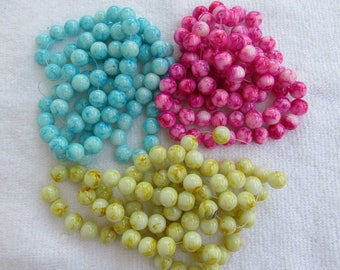 1 Strand 10mm Mottled Glass Round Beads (B147/231a)