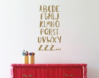 Alphabet nursery decal - ABC ZZZ... - Nursery Decals - Various colours