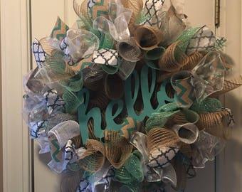 "Spring Burlap Mesh Wreath w/ ""hello"" sign"