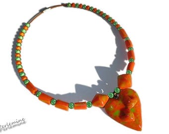 Necklace made of polymer clay, orange and green neon, green and orange miracle beads.
