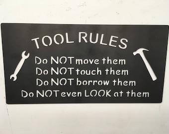 Tool rules, Man cave, Metal wall hanging, wall art