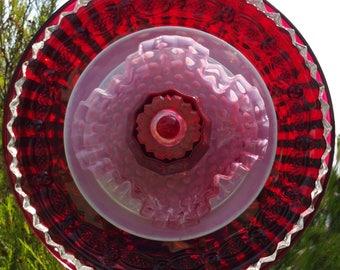Red & Pink Glass Flower, Outdoor Decor, Yard Art, Glass Flowers, Glass Garden Art,Garden Art Glass,Plate Flowers,Garden Gift, LinMoonDesigns