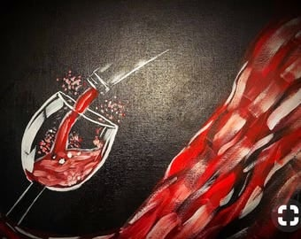 Red wine and bottle silhouette painting