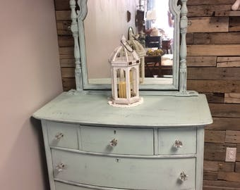 Vintage handpainted dresser and mirror