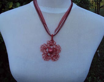 Crocheted copper wire flower pendant Pink and pearls