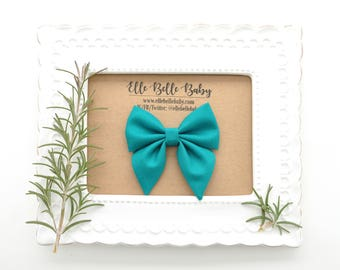 Teal Blue Sailor bow clip-Elle Baby Headband - Newborn - Hairbow with tails - Toddler hairclip -Nylon Headband-Elle Belle Baby