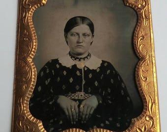 Daguerreotype Photo Victorian Woman Hand Colored Jewelry Print Dress ca 1860