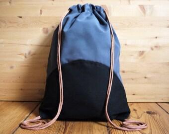 Grey & Black Drawstring Bag Backpack
