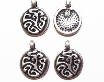 4 charms large 32 mm silver sequins / quality
