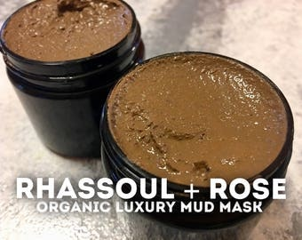 Rhassoul + Rose Mud Mask | Organic Fair-Trade Detoxifying Exfoliating Moroccan Clay-Ground Rose Petal Face/Body Mask w/ Honey & Lavender