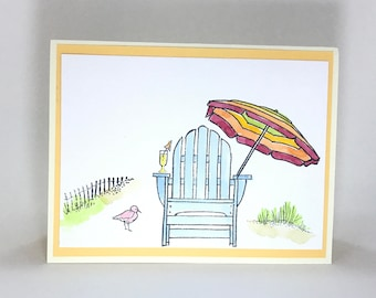 Hand made card, summer card, summer vacation, beach, ocean, Have a great summer card