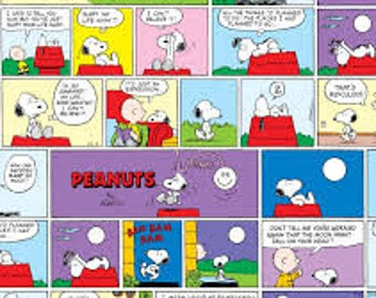 """Peanuts Comic strip fabric for Springs Creative, by the half yard, 43"""" wide, 100% cotton, charlie brown, peanuts fabric, comic strip fabric"""