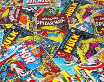 """Avengers comic covers fabric, By the Half Yard, 44"""" wide, cotton"""