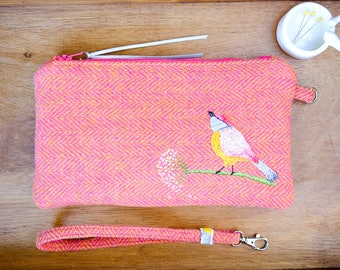 Clutch Bag. Harris Tweed Clutch. Hand Embroidered Bag. Bird Design. Pink & Yellow Bag. Wristlet Clutch. Medium Clutch. Handmade Clutch.