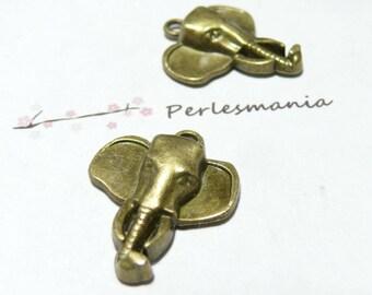 2 pieces 2D1118 bronze elephant pendant