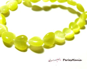 10 shaped cat's eye heart yellow 8 mm 2Z5107 beads for jewelry making