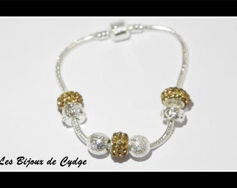 European bracelet with silver plated with 18cm Brown rhinestone Pearl