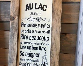 """Plaque """"Les règles au lac"""""""