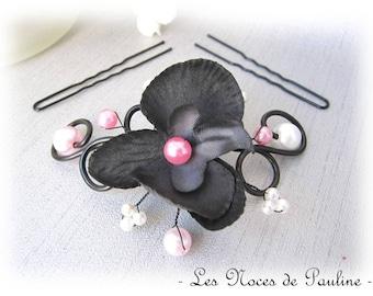 Peak bun orchid pink and black scrolls, wedding jewelry