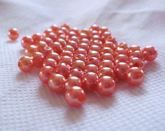 Set of 10 Orange beads 5 mm b