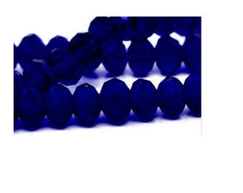 set of 10 faceted dark blue crystal glass 8 mm x 6 mm
