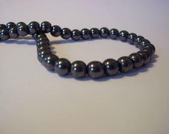 Set of 20 black gunmetal 6 mm hematite beads
