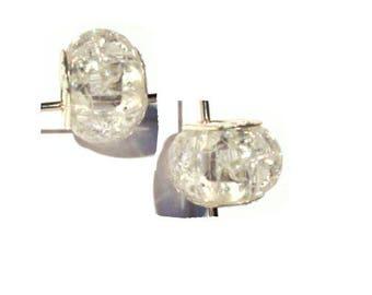 set of 2 European beads acrylic transparent marbled
