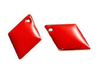 Set of 2 sequin red Argyle copper enameled 16 mm x 11 mm