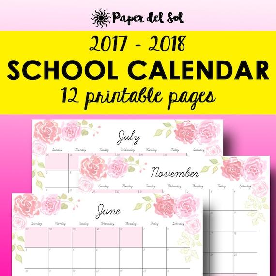 2018 2018 academic calendar template